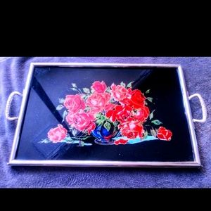 Vintage floral glass top tray